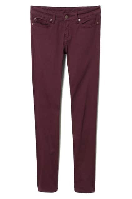 Buttoned Purple-red Skinny Pants
