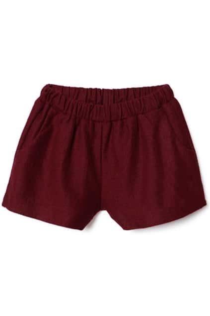 Elastic Waist Claret-red Shorts
