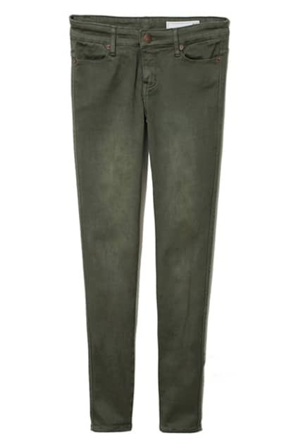 Zippered Army-green Skinny Pants