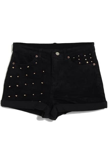 Riveted Rolled-edge Black Shorts