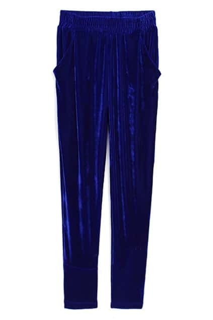 Velvet Blue Pegged Pants