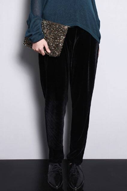 Velvet Black Pegged Pants