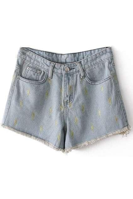 Lighting Embroidered Denim Shorts