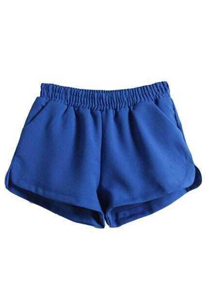 Blue Split Side Shorts