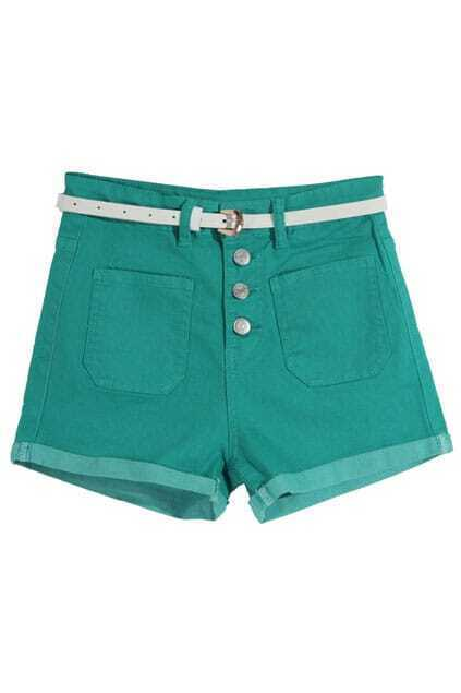 Green Metal Rivets Shorts