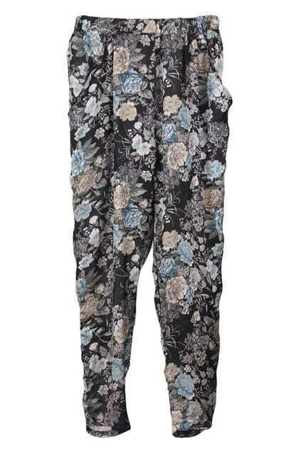 Black-background Floral Harem Pants
