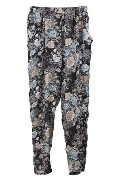 Black-background Floral Harem Pants