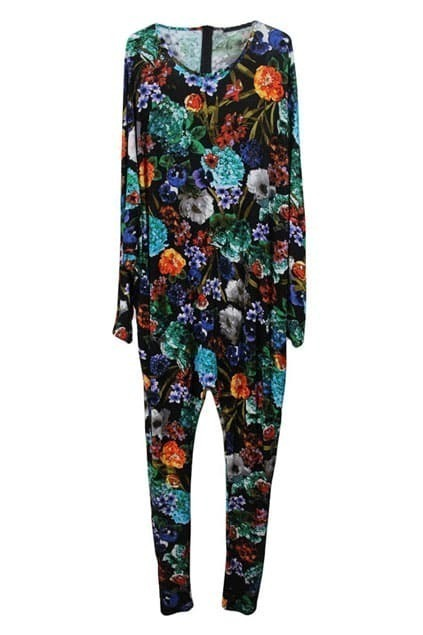Flower Print Black Jumpsuit
