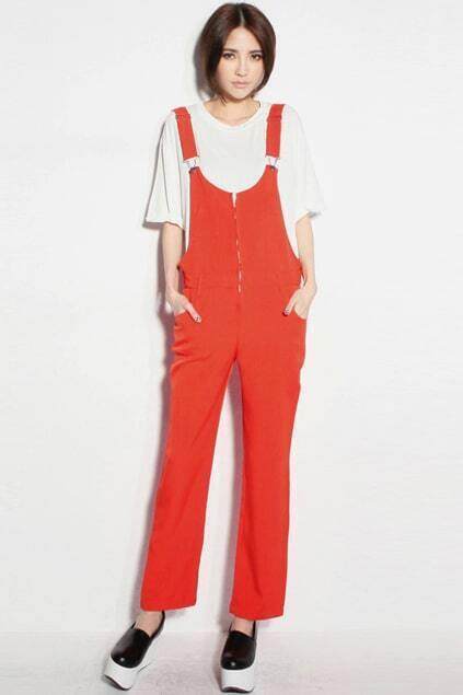 Zippered Orange Crop Bib Overalls