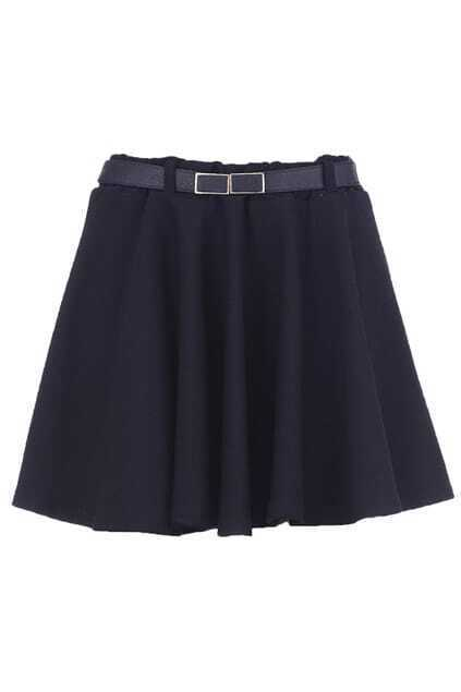 Belted Black Pleated Skirt