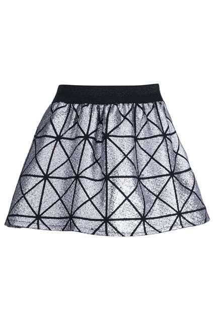 Metallic Coated Silver Skirt