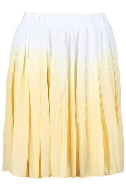 Gradient Yellow Pleated Skirt