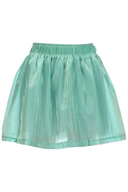 Dual-tone Green Pleated Skirt