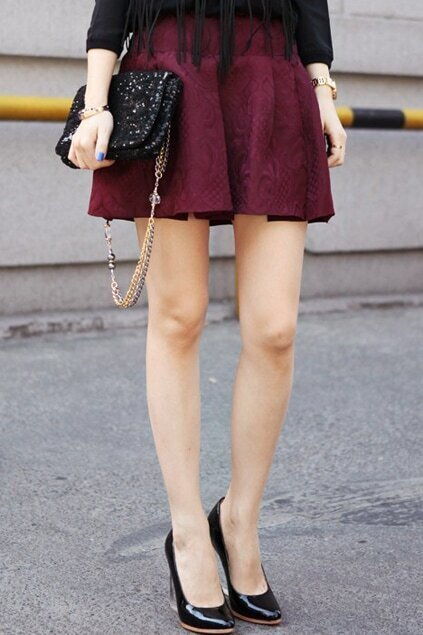 Jacquard Wine Red Skirt