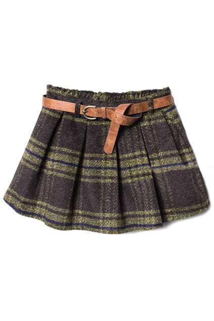 Belted Coffee-yellow Check  Skirt