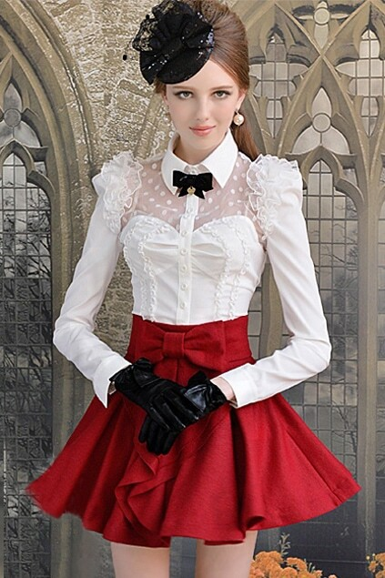 Middle-rise Waist Red skirt