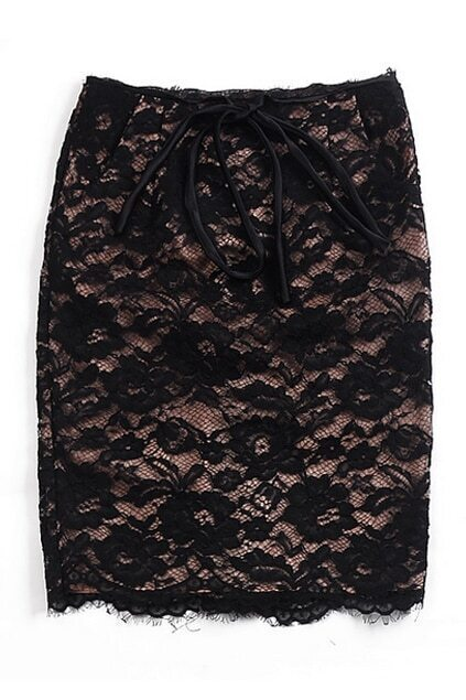 High-waist Lace Black Skirt