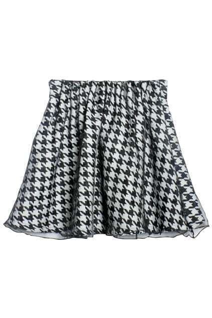 Houndstooth Tweed Black-white Skirt