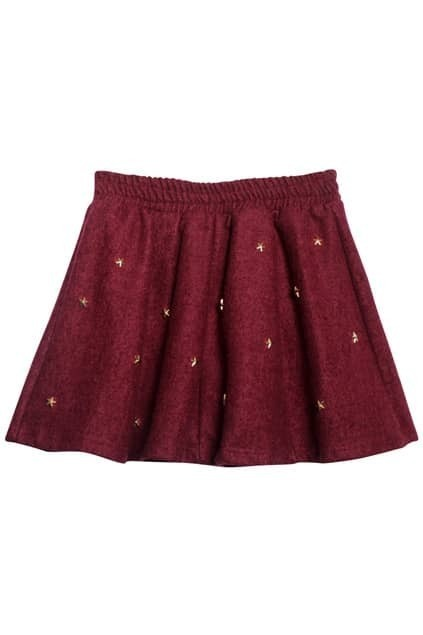 Metal Rivets Wine-red Skirt