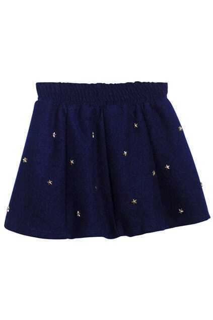Metal Rivets Dark-blue Skirt