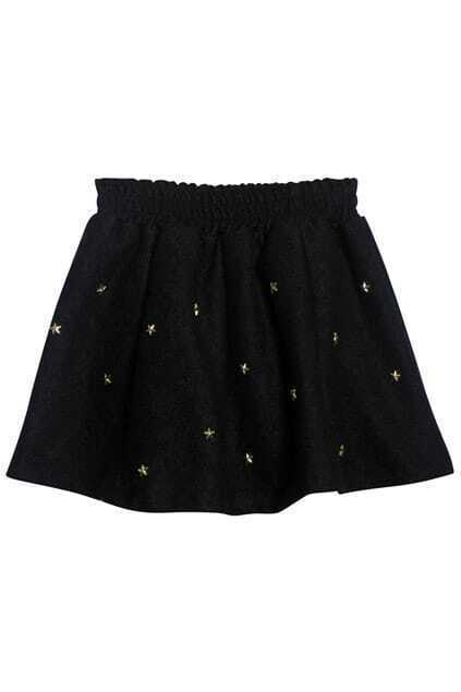 Metal Rivets Black Skirt