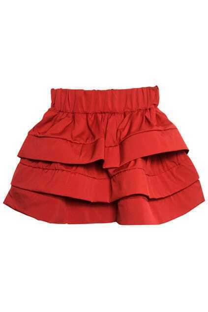 Three-layers Red Puff Skirt