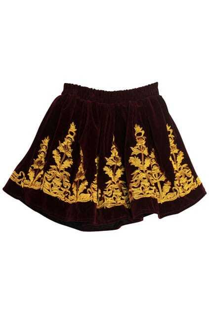 Embroidery Red Velvet Skirt