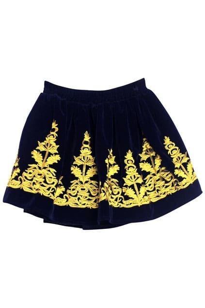 Embroidery Blue Velvet Skirt