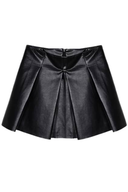 Pleated Black Puff Skirt