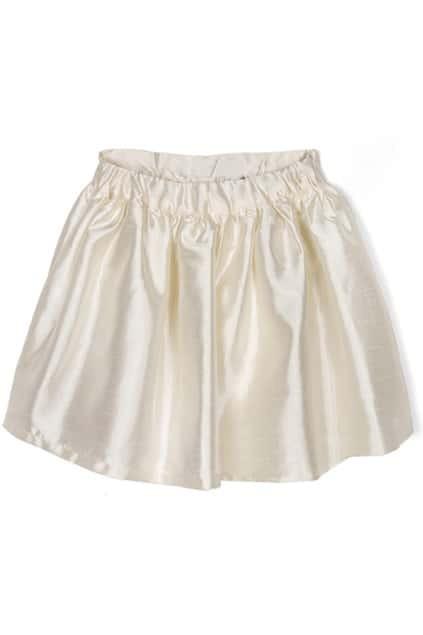 Umbrella-shaped White Puff Skirt