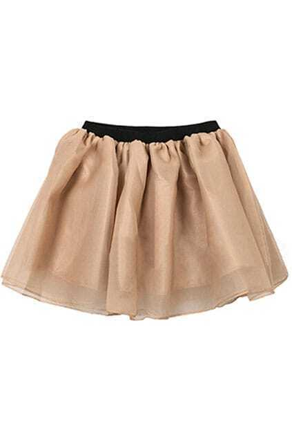Pleated Multilayer Champagne Colored Skirt