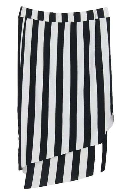 Vertical Stripes Double-layer Skirt