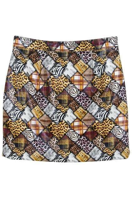 Multiple Animal Print Skirt