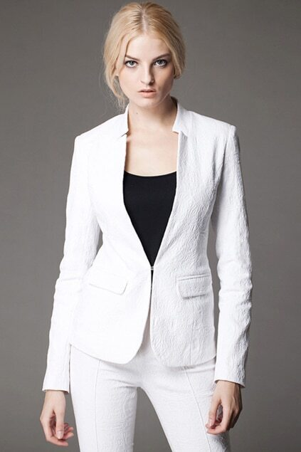 Solid-color Embroidery White Blazer