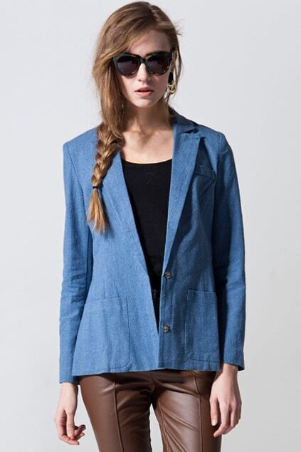 Retro Washed Dark-blue Blazer