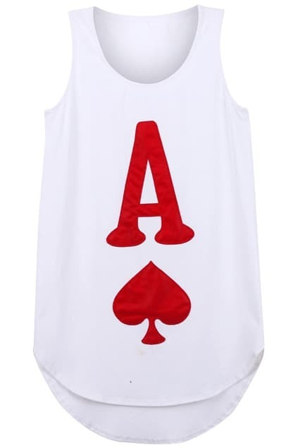 Poker Heart Pattern White Vest