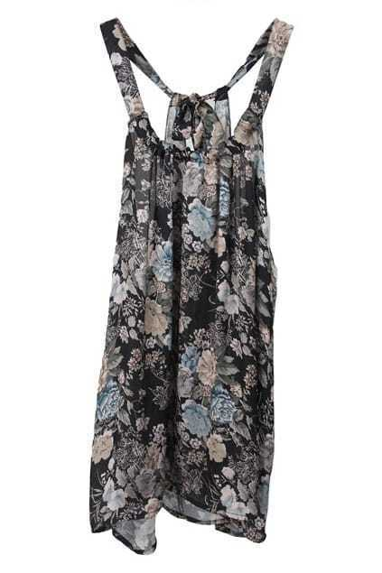 Back-tied Floral Vest