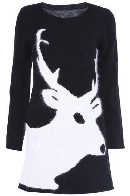 Knitted Deer Black Dress