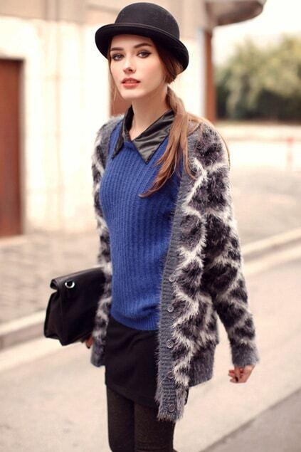 Detachable-collar Blue Jumper