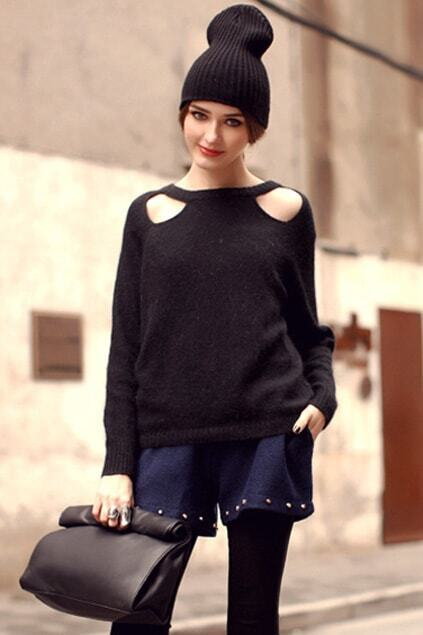 Off-shoulder Black Jumper