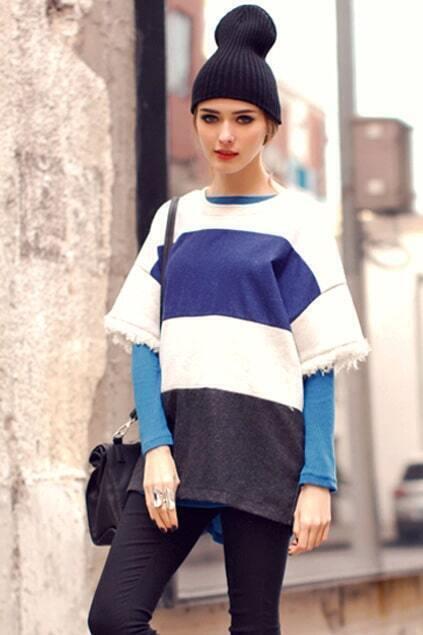 Contrasr-color Grey-blue Hoodie