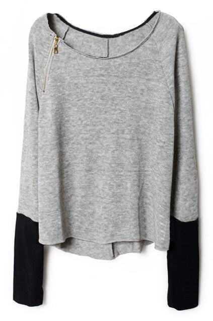 Zippered Light Grey Pullover