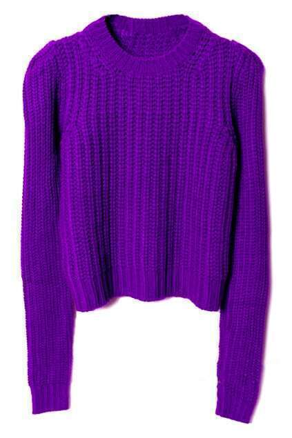 Knitted Stripes Purple Jumper