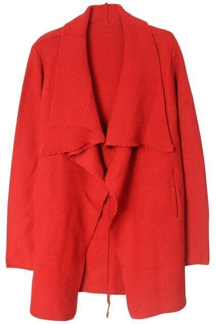 Lapel Buttonless Red Cardigan
