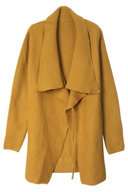Lapel Buttonless Yellow Cardigan