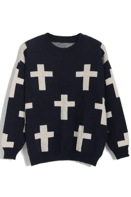 Cross Patterns Dark-blue Jumper