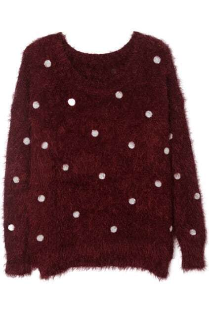 Paillette Embellished Claret-red Jumper