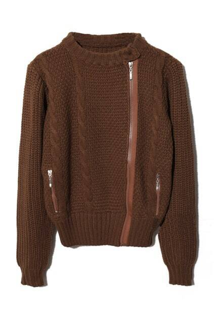 Zippered Brown Cardigan