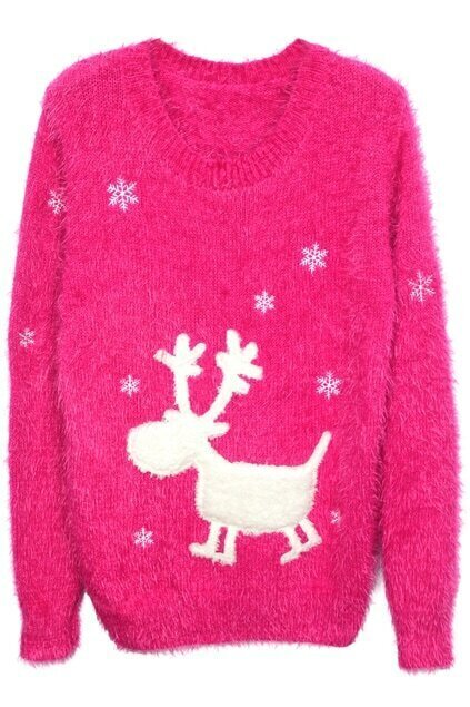 Deer Flocking Rose Jumper