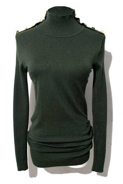 Buttoned Army-green Turtleneck Jumper